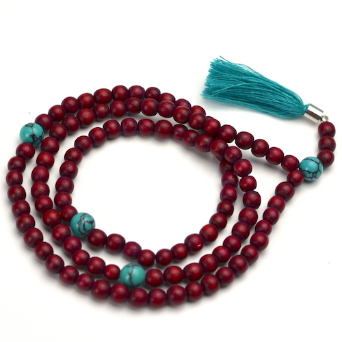 Red Mala With Turquoise Beads